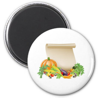Thanksgiving or fresh produce scroll refrigerator magnets