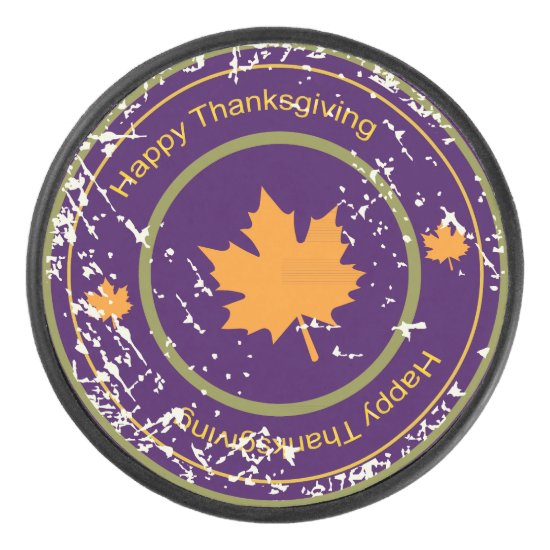 Thanksgiving Orange  Maple Leaf, Ice Hockey Puck
