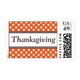 Thanksgiving Orange Polka Dot Postage Stamps
