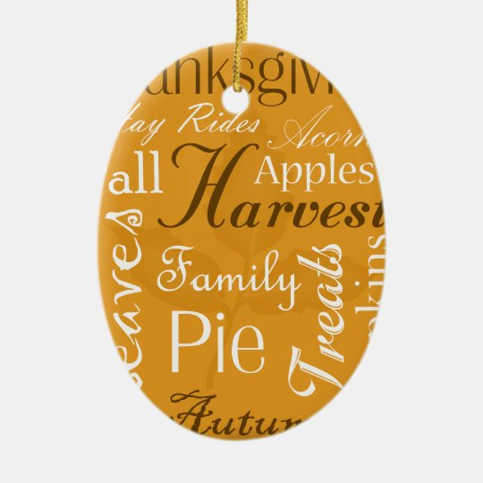 Thanksgiving Ornament with Date on Back - Fall Art