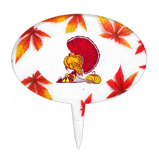 Thanksgiving Oval Cake Toppers - Turkey and Leaves