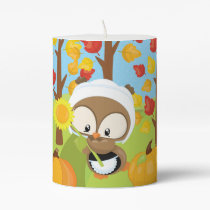 Thanksgiving Owl - 1 Pillar Candle