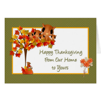 Thanksgiving Owl Family Greeting Card