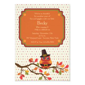 Thanksgiving Owl Invitation