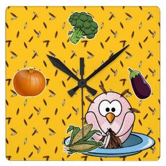 Thanksgiving owl square wall clock