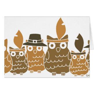 Thanksgiving Owls Greeting Card