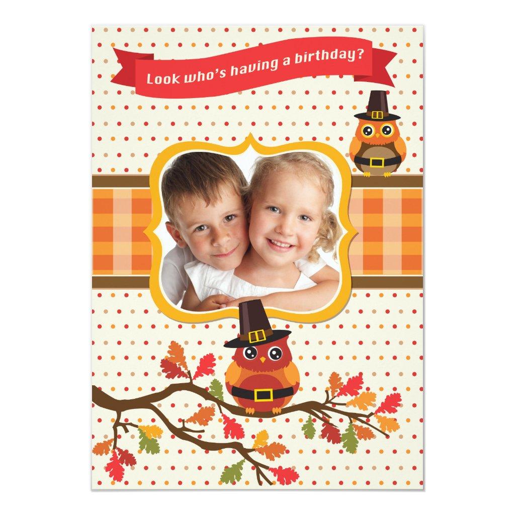 Thanksgiving Owls Photo Birthday Invitation