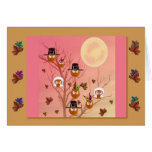 Thanksgiving Owls template card