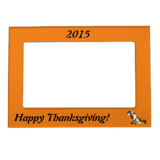 Thanksgiving Painted Horse with Turkey Feathers Magnetic Photo Frame