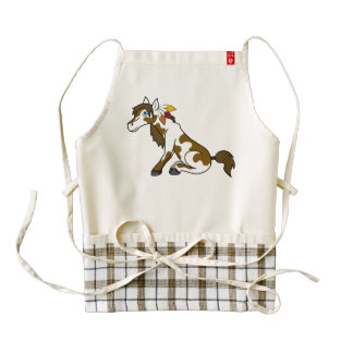 Thanksgiving Painted Horse with Turkey Feathers Zazzle HEART Apron