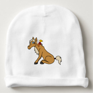 Thanksgiving Palomino Horse with Turkey Feathers Baby Beanie
