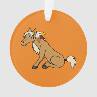Thanksgiving Palomino Horse with Turkey Feathers Ornament