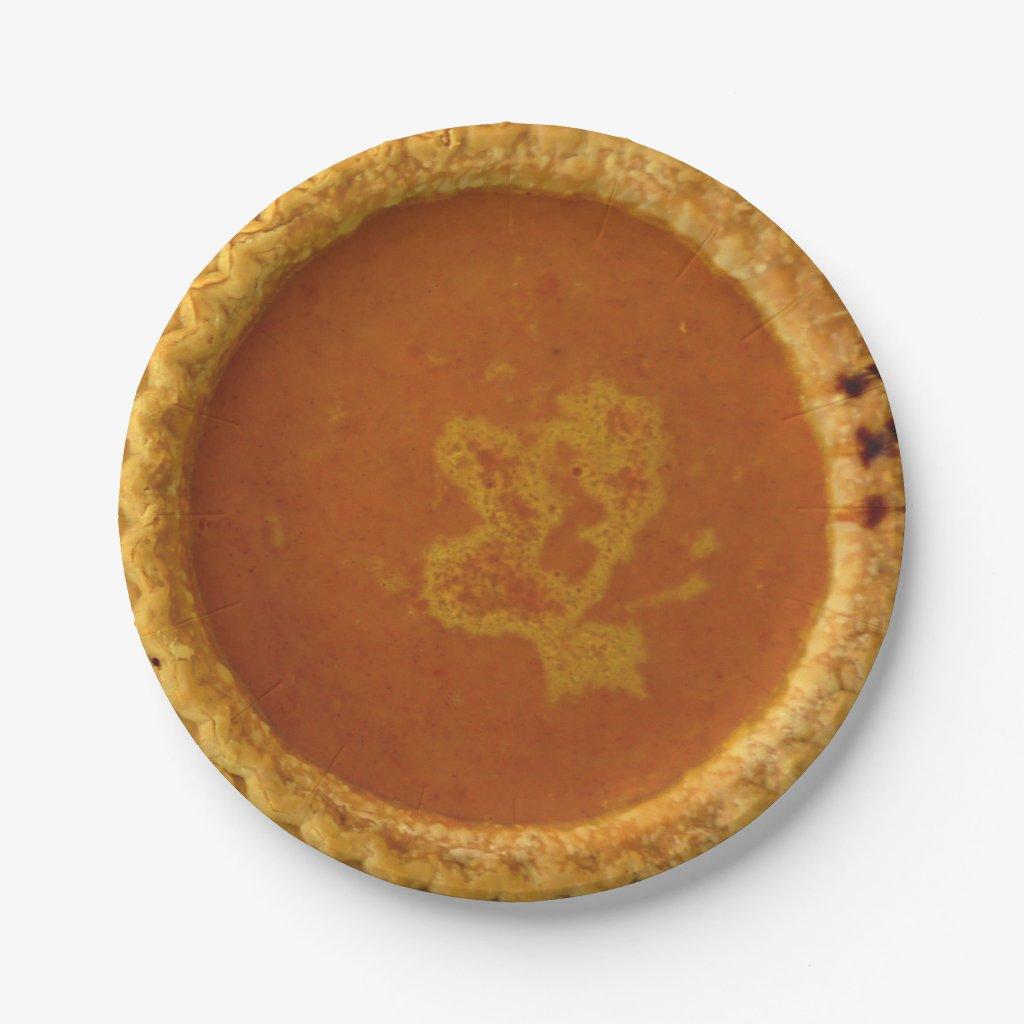Thanksgiving Paper Plates With Pumpkin Pie