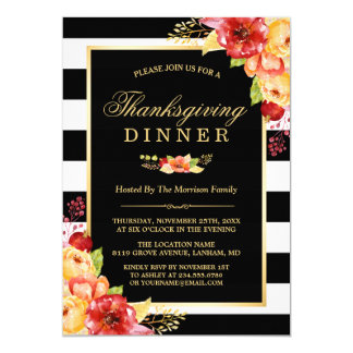Thanksgiving Party Autumn Gold Red Floral Stripes Card