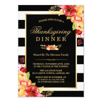 Thanksgiving Party Autumn Gold Red Floral Stripes Invitation