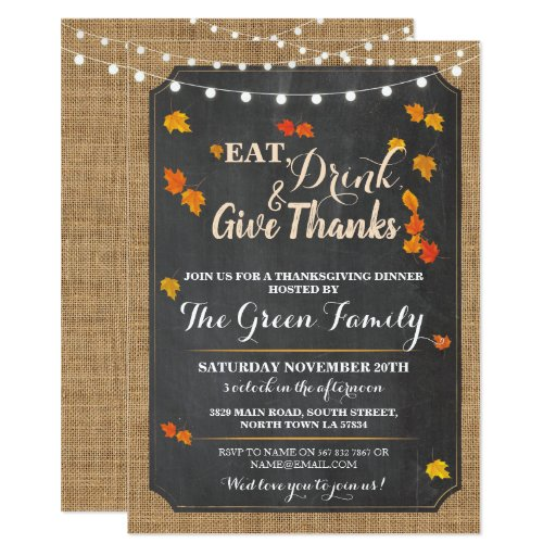 Thanksgiving Party Fall Rustic Lights Invite