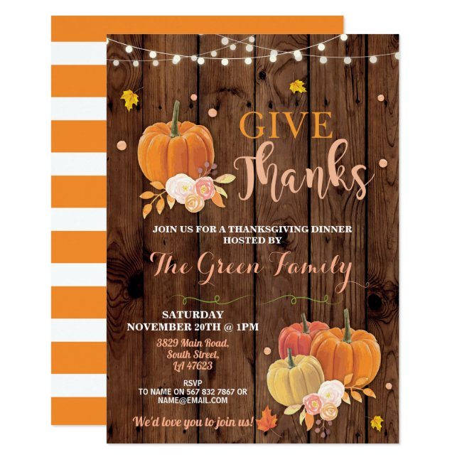 Thanksgiving Party Fall Wood Pumpkin Dinner Invitation