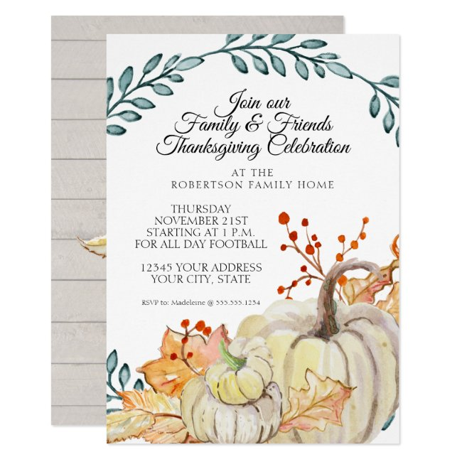 Thanksgiving Party Rustic Fall Leaf n Wood Pumpkin Invitation