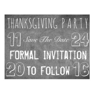 Thanksgiving Party Save The Date Chalkboard Postcard