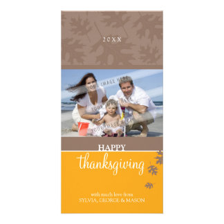 THANKSGIVING PHOTOCARD :: falling leaves 1 Photo Card