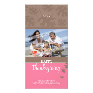 THANKSGIVING PHOTOCARD :: falling leaves 3 Photo Card