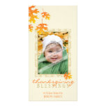 THANKSGIVING PHOTOCARD :: mache leaves 3 Photo Card Template