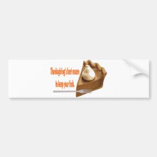 Thanksgiving Pie Bumper Sticker Car Bumper Sticker