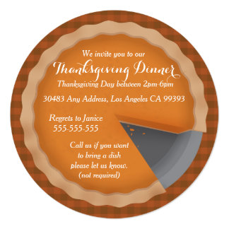 Thanksgiving Pie Dinner Party Inviations Card