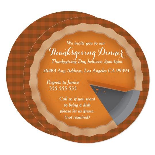 thanksgiving pie dinner party invitation zazzle com