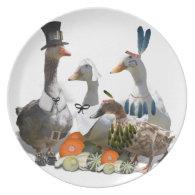 Thanksgiving Pilgrim and Indian Ducks Dinner Plate