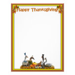 Thanksgiving Pilgrim and Indian Ducks Customized Letterhead