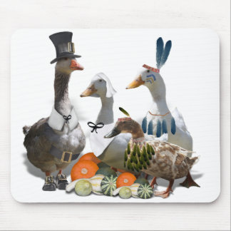 Thanksgiving Pilgrim and Indian Ducks Mouse Pad