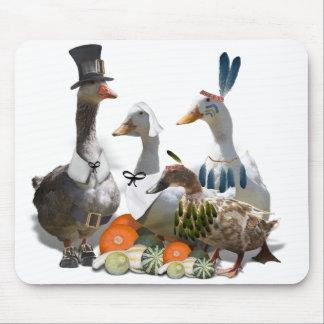 Thanksgiving Pilgrim and Indian Ducks Mousepads