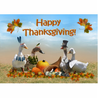 Thanksgiving Pilgrim and Indian Ducks Photo Cut Out