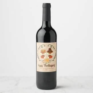 Thanksgiving, Pilgrim and Indian Fox Wine Label