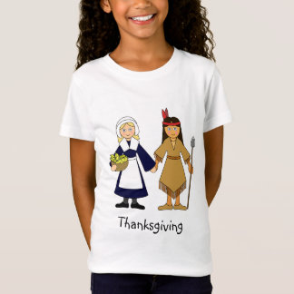 Thanksgiving Pilgrim and Native American Girls T-Shirt