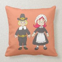Thanksgiving Pilgrim Boy And Girl Throw Pillow