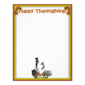 Thanksgiving Pilgrim Duck Couple Letterhead