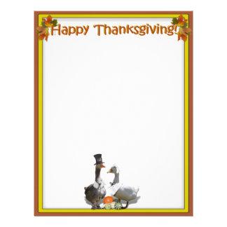 Thanksgiving Pilgrim Duck Couple Letterhead Template