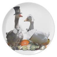 Thanksgiving Pilgrim Duck Couple Melamine Plate