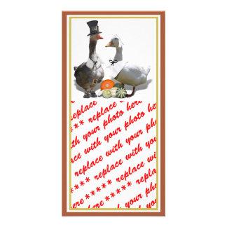 Thanksgiving Pilgrim Duck Couple Photo Greeting Card