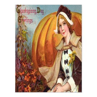 Thanksgiving Pilgrim Girl With Pumpkin Magnetic Card