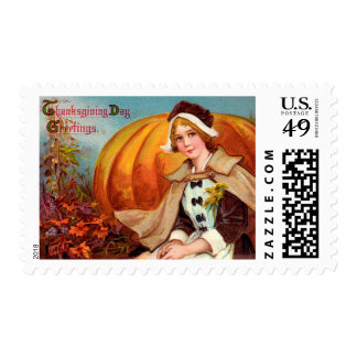 Thanksgiving Pilgrim Girl With Pumpkin Postage Stamps