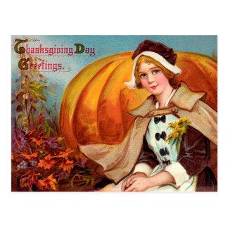 Thanksgiving Pilgrim Girl With Pumpkin Postcard