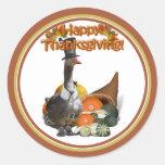 Thanksgiving Pilgrim Goose Classic Round Sticker