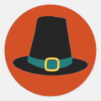 Thanksgiving Pilgrim Hat Classic Round Sticker