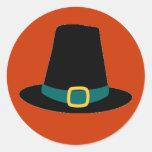 Thanksgiving Pilgrim Hat Stickers