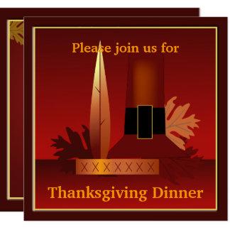 Thanksgiving Pilgrim & Indian Design Dinner Card