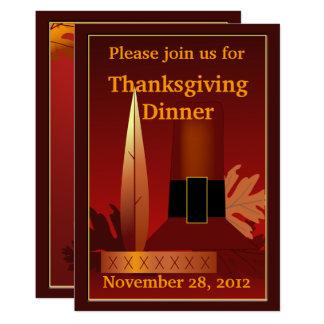 Thanksgiving Pilgrim Indian Design Dinner Invite
