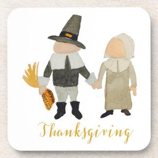 Thanksgiving Pilgrim Puritan Toddler Girl and Boy Drink Coasters